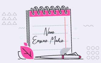 Bloco-de-papel-com-caneta-rosa-e-branco-escrito-novo-ensino-médio